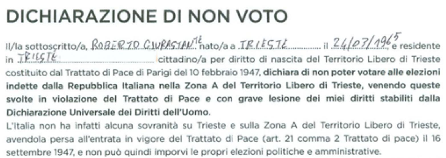 NON HO VOTATO PER L'ITALIA