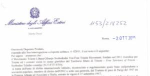 Risposta del sottosegretario Dassù all'interrogazione del Deputato Prodani sulla Questione di Trieste.