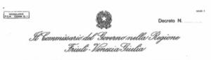 Intestazione del Commissariato del Governo nella Regione FVG