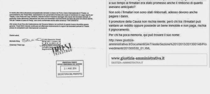 UNA SENTENZA SCOTTANTE PER LA CAUSA DEL TERRITORIO LIBERO DI TRIESTE