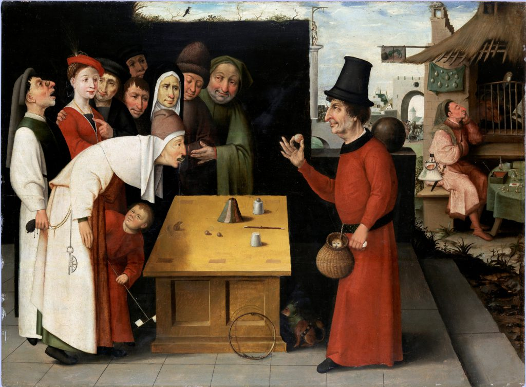School of Hieronymus Bosch, Holland, 1474–1516 The Conjurer, after 1500 Oil on panel Bequest of Oliver O. and Marianne Ostier, New York,  to the America-Israel Cultural Foundation B77.0069