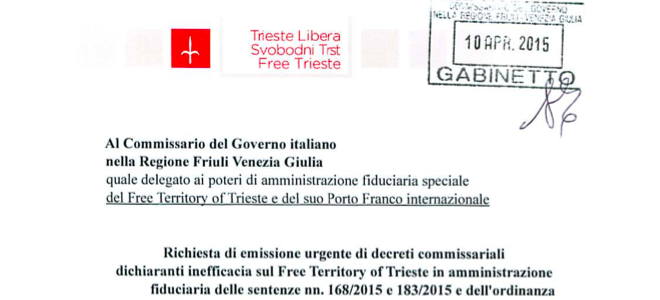 Trieste Libera: il Commissario del Governo eserciti l'amministrazione fiduciaria
