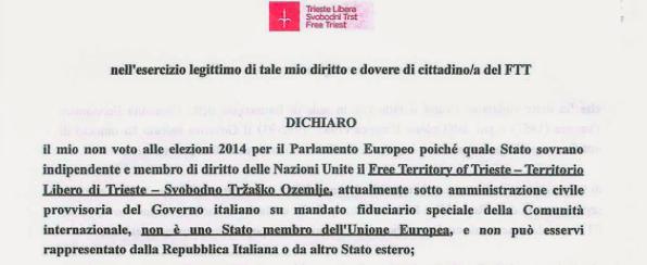 IO NON VOTO PER L'ITALIA: IO SONO UN CITTADINO DEL TERRITORIO LIBERO DI TRIESTE