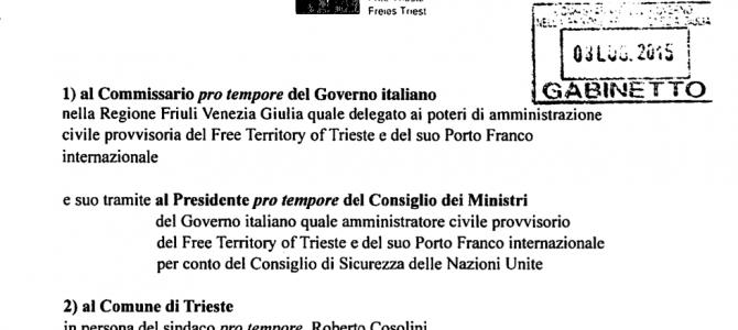 Porto Franco internazionale di Trieste: notificata diffida penale a dirigenti PD