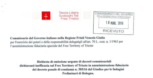 STOP ALLE CONDANNE SENZA PROCESSO CONTRO I CITTADINI DEL TERRITORIO LIBERO DI TRIESTE