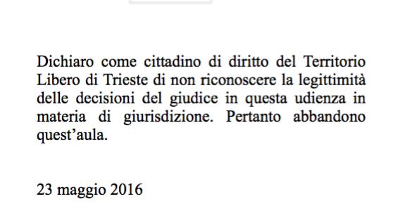 23 maggio 2016: da Trieste Libera stop ai processi illegittimi