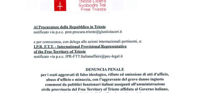 Immediata denuncia penale di Trieste Libera contro il Commissario del Governo