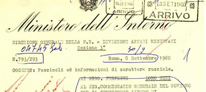 TERRITORIO LIBERO DI TRIESTE E LEGGI RAZZIALI: UN DOCUMENTO RISERVATO DEL 1960