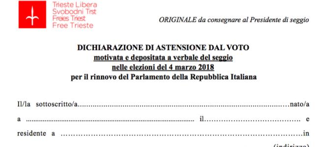 Istruzioni per la presentazione della dichiarazione di astensione a verbale del seggio elettorale 2018