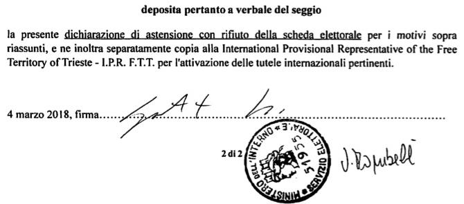 PERCHE' LE ELEZIONI ITALIANE SONO ILLEGITTIME NEL TERRITORIO LIBERO DI TRIESTE