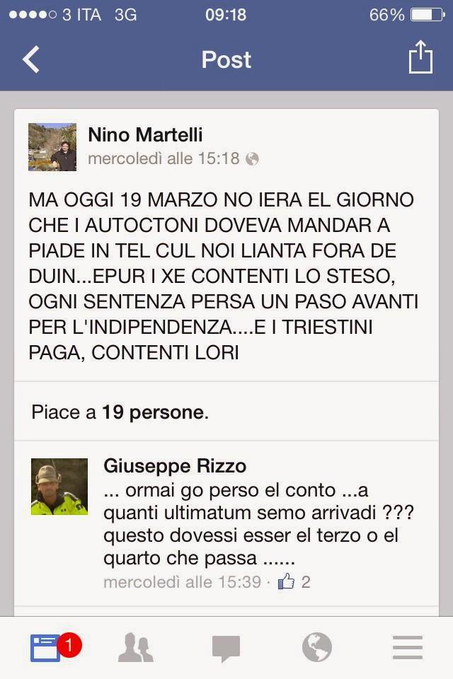 Screenshot di Nino Martelli che aizza i suoi contatti contro Trieste Libera