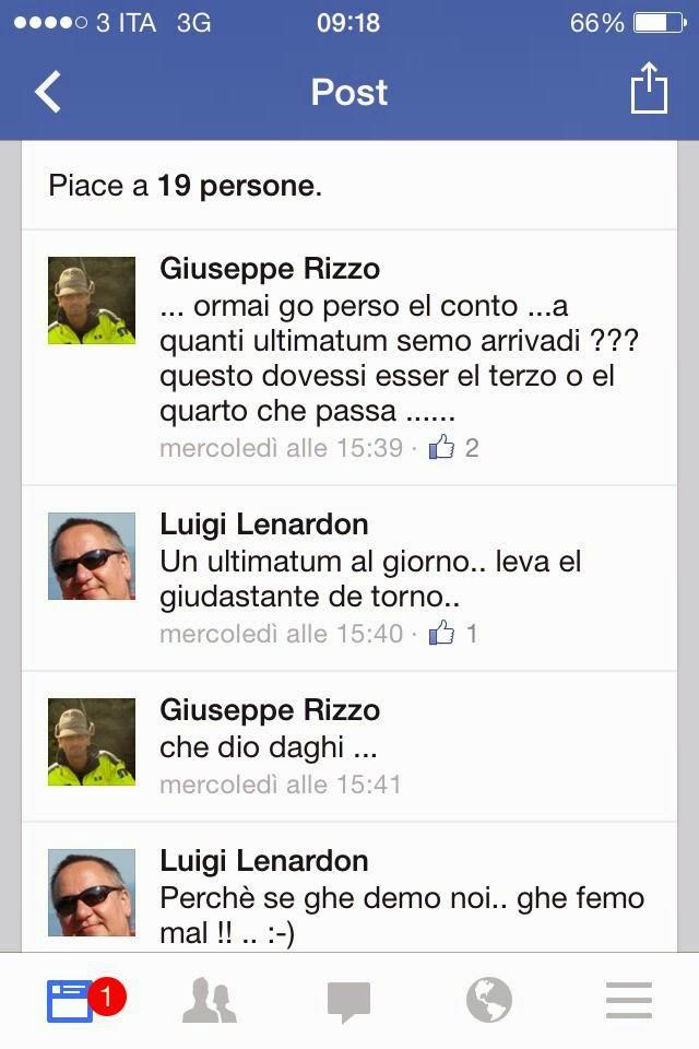 In risposta a Nino Martelli, tale Luigi Lenardon minaccia Roberto Giurastante, presidente di Trieste Libera.