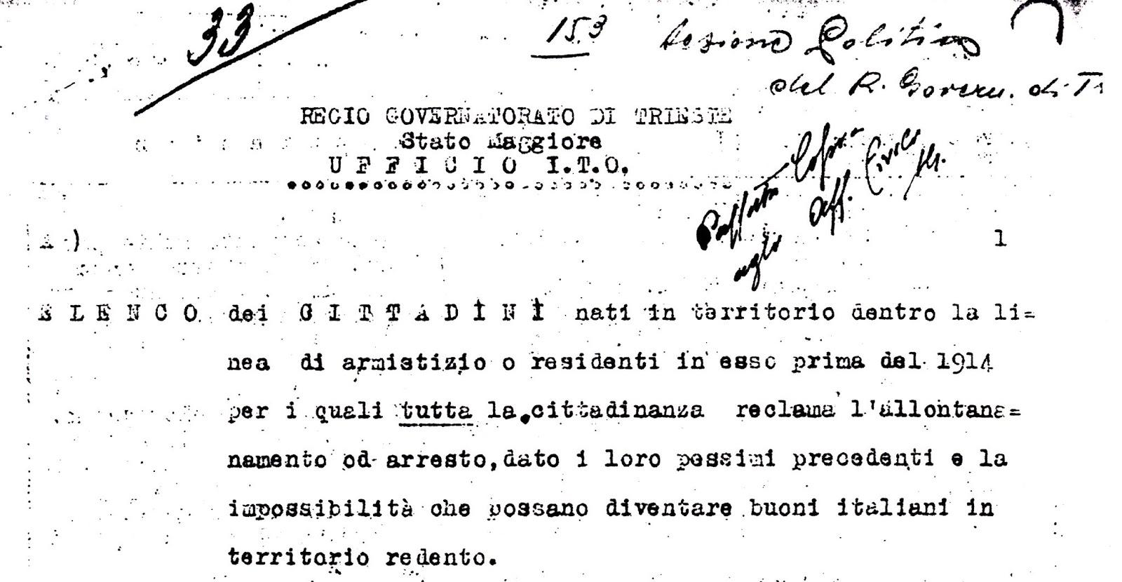 TRIESTE DICEMBRE 1918, OPERAZIONE EPURAZIONE: ALLONTANATE I CATTIVI ITALIANI DA TRIESTE