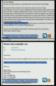 Screenshot del TG3 con l'email di Antonio Caiazza e la presunta risposta dell'ONU sullo status di Trieste inviatagli da Morana Song.