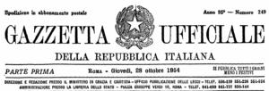 Frontespizio della Gazzetta Ufficiale della Repubblica Italiana del 28 ottobre 1954.