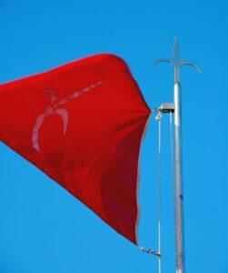 La bandiera del Territorio Libero di Trieste al vento.