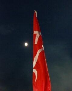 La bandiera del Territorio Libero di Trieste nel cielo notturno, sullo sfondo una pallida luna.