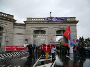 10 febbraio 2014: presidio di Trieste Libera al Porto Franco Nord.