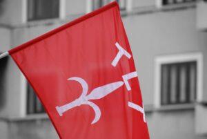 La bandiera di Trieste, rossa con l'alabarda, con su le iniziali TLT.